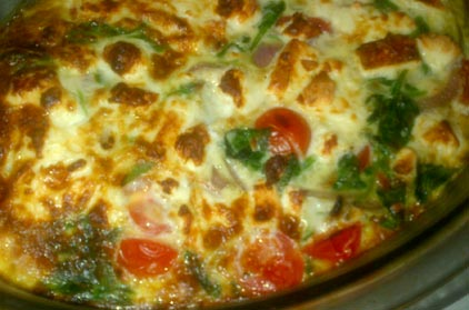 Healthy Frittata with spinach and feta cheese